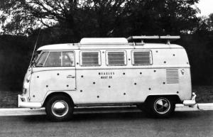 Spotted VW van with message Measles Must Go