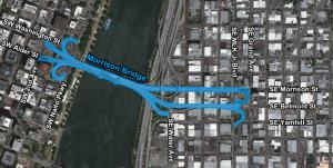 Map graphic highlighting the area within 10' of the county-maintained areas around the Morrison Bridge.