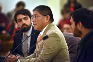 Orvie Danzuka of the Confederated Tribes of Warm Springs addresses the board  on Thursday.