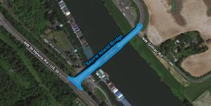 Area where permits may be required to work near the Sauvie Island Bridge.