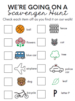 Scavenger hunt checklist including ball, flowers, blue car, airplane, dog, bicycle, fence, cat, tree, police car, leaf, letter p