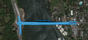Map graphic highlighting the area within 10' of the county-maintained areas around the Sellwood Bridge.