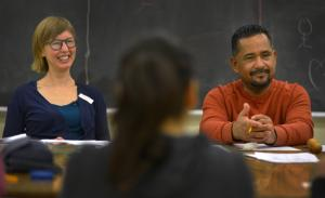 Molly Franks, Multnomah County health educator and Miguel Canales, Multnomah County community health specialist