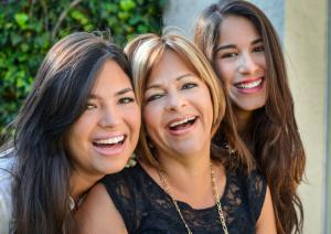 teen daughters with mother