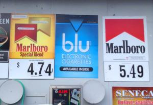 tobacco posters outside a store