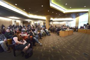 Multnomah County board room during the March 5 meeting.