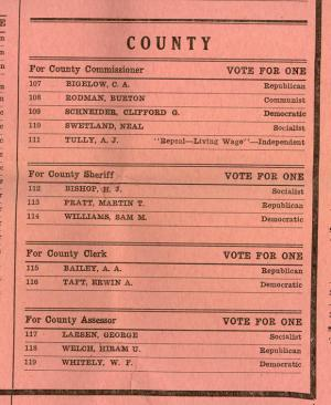 Portion of the ballot for the Nov. 8, 1932 election