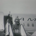 Black and white photograph of Barry Goldwater disembarking from a plane